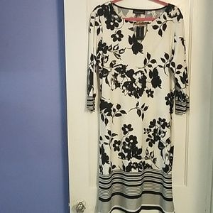 Black and white, floral print, shift dress